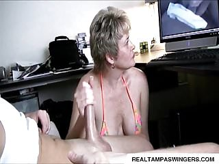 Cfnm hand job video Hand job caught while watching porn