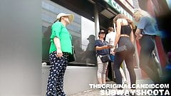 Blonde in tight LuLu candid ass