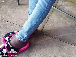 Foot job in ballet slippers Barely black pantyhose slipper teaser
