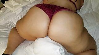Big booty Cuban models purple bra and panties for me.