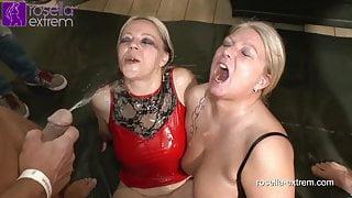 The yellow tide! Men Horde vs 2 piss-sluts! Part 2