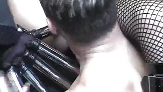 British slut fucks and gets fucked with dildos as fingers