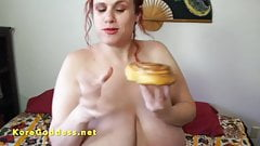 Big tits babe eating and fucking at the same time