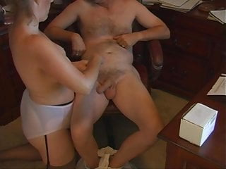 Granny panties mature tube Mom handjob in fullback panty briefs