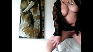 BBw huge tits and huge ass mature striptease and blowjob