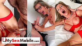 Blonde French mature Marina Beaulieu sodomized by younger guy