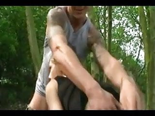 Amateur gay older Dogging - couple with older strangers in forest