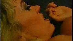 Cute blonde milf with nice big rack rides a huge cock on leather chair