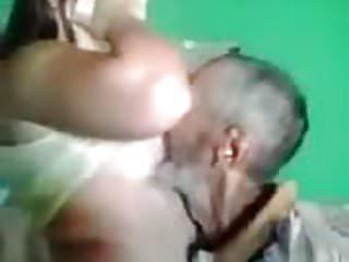 Man sucking on big boob Old man sucking boobs