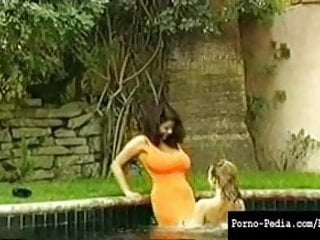 Hardcore pool - Hot lesbians with big tits in pool awesome