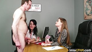 CFNM office babes giving handjob to lucky dude