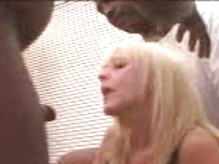 Force gangbang mature sluts - Mature blonde slut gets a rough black gangfuck