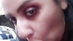 Paki girl Ayesha giving blowjob to bf in car