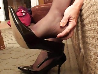 Mature nylon women - Sexy mature nylon feet