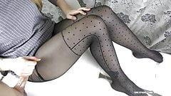 Teen Big Tits in Black Pantyhose - Handjob, cum feet