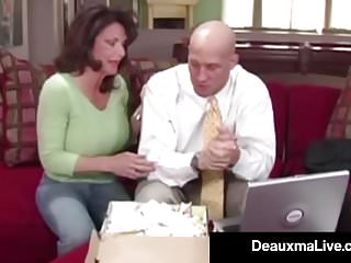 Federal tax transgender transsexual Busty cougar deauxma fucks the tax man in her house oho