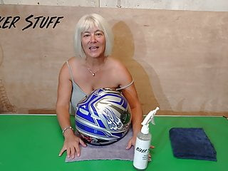 Asian helmets - Hot youtuber biker stuff - no bra polishing her helmet
