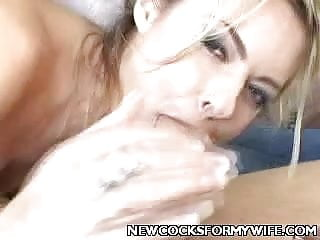 My wife lookingfor a fat cock - Blonde wife sucking off a fat cock