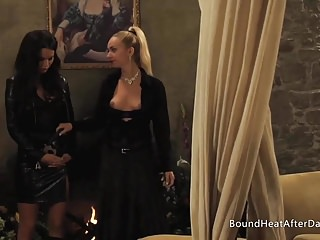 Leather and lace porn movie - Leather and lace: two slaves dancing with whip for mistress