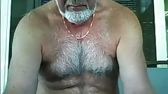 B42late hairy silver grandpa shows his body