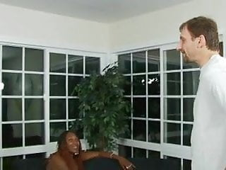 Sequin rhinestone lingerie Lucky white stud gets his throbbing cock deep-throated by two black whores