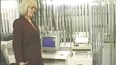 Receptionist gets horny in office and fucks her pussy with dildo