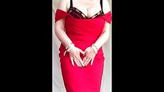 Sexy granny big tits, shaved pussy stripping off red dress 1