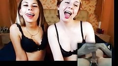 Funny Russian webcam girls reaction to cumshot!
