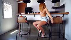 Awesome girl takes off her shorts and rubs it