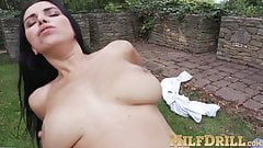 Mesmerizing mature Kira Queen bangs rough and hard outdoor