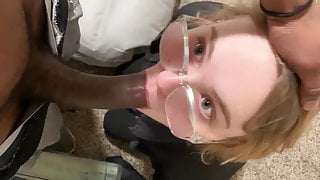 Blonde with glasses sucks and fucks bbc