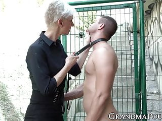 Wanking big cock - Granny femdom wanks off before riding caged cock