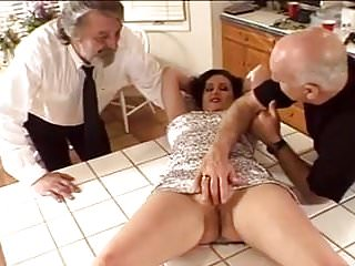 Skinny bruenette big tits doggystyle Bruenette wife gets fucked by old dave and ron in kitchen