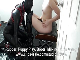 Rubber fetish penis pants - Rubber puppy worships thigh boots and gets anal fucked and e