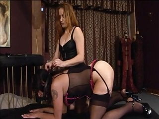 Lesbians spanked in nylons Redhead whore spanks brunette ass