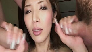 Japanese threesome with hot brunette Teacher