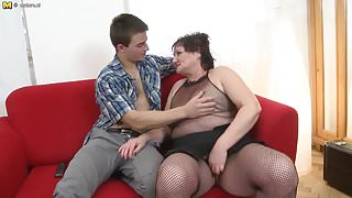 Chubby mature mom fucked by young stepson