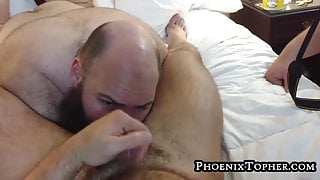 Assfucked bear jerks off and cums while getting rimmed