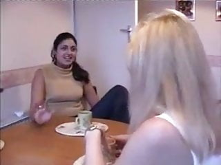 Lesbians wives Horny neighbor wives get down to pussy licking and fuck
