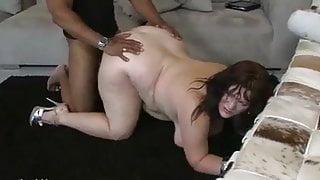 BBW black cock on sofa
