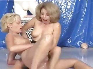 Bikini girls wrestling - German girls wrestling in oil with a dildo 2