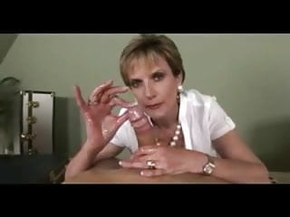 Jerking smooth penis - Busty milf jerks sperm out penis