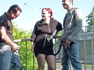 Risky naked Risky threesome by a busy freeway way cool