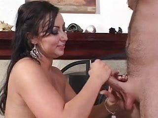 Guy gets hand job in outfield Horny brunette gives guy wild hand job in living room
