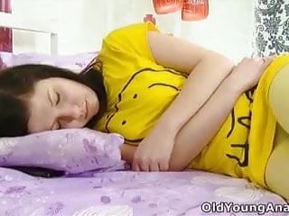 G lay hamburg anal - Alena is laying in bed, looking sexy in her yellow top,