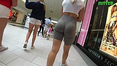 Round bubble butt blondie in tight spandex shorts