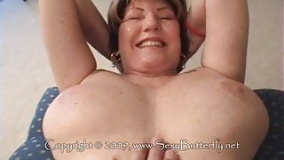 Granny spreading showing her goods