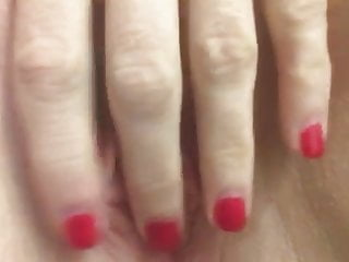 Spanked fingered red wet fucked Amateur wife with red nails rubs her swollen wet lips
