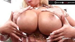 Busty Blonde Waitress Bimbo Candy Manson Gets Drilled