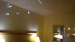 MILF wife in hotel wanks for everyone to see